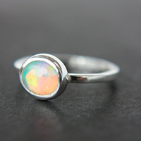 Natural Opal Ring Sterling Silver Natural Ethiopian Welo Opal Ring Size 5-6 Silversmithed Metalsmithed