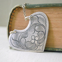 Leafy Tin Heart Necklace - Antiqued Silver Tin Leaf Heart Pendant Necklace Silver Chain