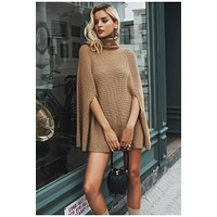 NOVA Knitted Turtleneck Sweater Cloak