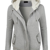 LE3NO Womens Sherpa Lined Zip Up Hoodie Jacket with Pockets