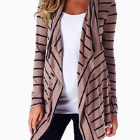 Mocha Black Striped Flowy Maternity Cardigan