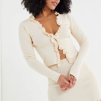 UO Ribbed Ruffle Trim Cardigan | Urban Outfitters