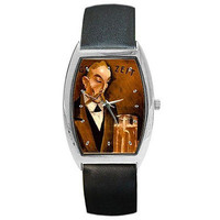 Vintage Poster Man Holding Beer on a Silver Barrel Watch w/ Leather Bands
