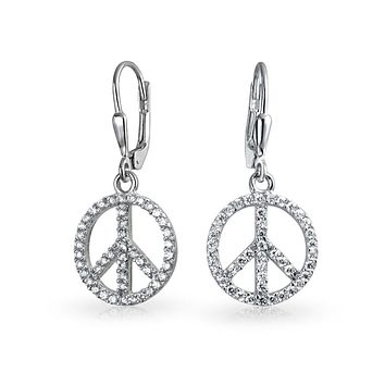 World Peace Symbol Pave CZ Leverback Dangle Earrings Sterling Silver