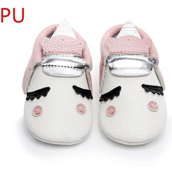 PU Leather Unique style newborn baby moccasins toddler baby christmas gifts party shoes Blush golden angle Unicorn Baby boot