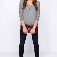 Batwing Sleeve Knit Pullover Top