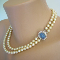 Pearl Necklace, Statement Necklace, Sapphire Rhinestones, Bridal Choker, Wedding Jewelry, Mother of the Bride, Cream Pearls, Vintage Bridal