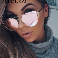 Mecol 2016 New Cat Eye Sunglasses Women Brand Designer Fashion Twin-Beams Rose Gold Mirror Cateye Sun Glasses For Female UV400