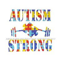 Autism Awareness Car Decal - Autism Strong Support Puzzle Piece & Weights Educational Vinyl Car Window Sticker Choice of Size