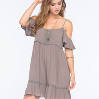 Others Follow Cold Shoulder Dress Mushroom  In Sizes