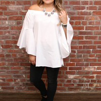 White Off The Shoulder Top W/ Bell Sleeves