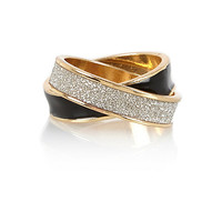 River Island Womens Gold tone enamel glitter entwined ring