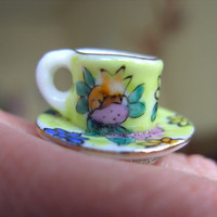 Sweet Spring mini Tea cup saucer tea party RING by NewellsJewels