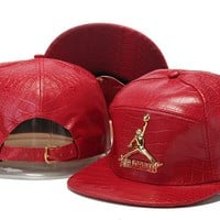 Crocodile Grain hat letters hip-hop hat Jordan Snapback PU leather Casual Outdoor baseball cap