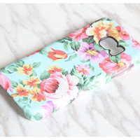 Turquoise Pink Floral Samsung Galaxy S7 Edge Case S7 case Samsung S6 Edge Plus Case Galaxy S6 Edge S6 S5 Case Note 5 Case KB977