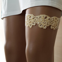 garter tossing champagne lace wedding garters, bridal accessories, suspender garter, free shipping!