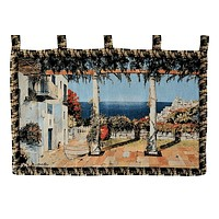 Tache 28 x 47 Inches Coastal Greek Mediterranean Vacation Tapestry Wall Hanging (WH-DA14199A)