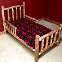 ON SALE Cedar Log Toddler Bed With side Rails