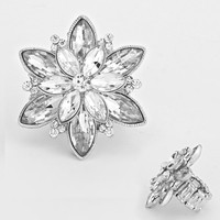 """"""" Flower Burst""""  Clear Rhinestone Pave Stretch Cocktail Ring On Silver Tone"""