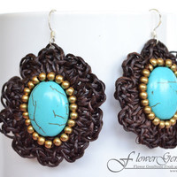 Vintage Earrings Turquoise Stone Handmade 925 Silver Earrings for Fashion and Bohemian Style by Flower GemStone