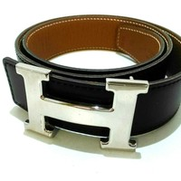 Auth HERMES H Belt Black LightBrown Leather Square D Belt