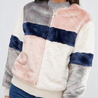 ASOS Bomber Jacket in Patched Faux Fur at asos.com