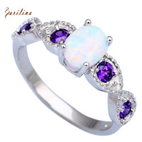 Wedding Purple Cubic Zirconia rings for teen girls White Fire Opal 925 Sterling Silver Overlay size 5 6 7 8 9 10 11 12 R086