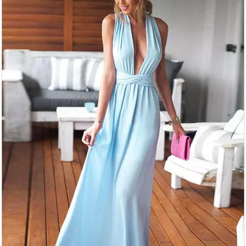 Sky Blue V-Neck Tie Maxi Dress
