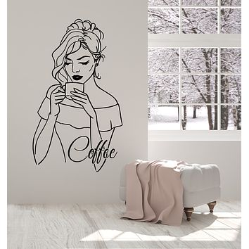 Vinyl Wall Decal Drinking Coffee Time Beauty Woman Cafe Logo Stickers Mural (g3069)