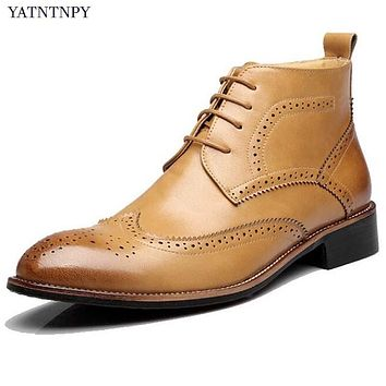 Leather Men Bullock carved  Vintage Martin Lace-Up Oxfords Boots