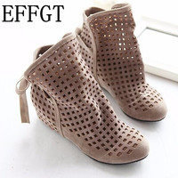 EFFGT 2017 New Women's Summer Boots Flat Low Hidden Wedges Cutout Ankle Boots Ladies Dress Casual Shoes Hot sale Cute Flock P26
