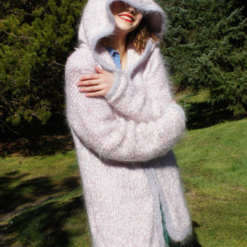 60's Chunky Fuzzy Knit Cowl Hooded Sweater