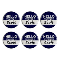Scott Hello My Name Is Plastic Resin Button Set of 6