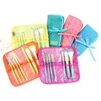 Cosmopolitan 7Pc Makeup Brush and Bag Set Assorted Colors