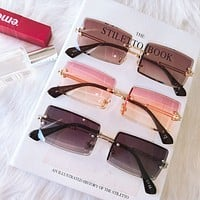 Fashion Rimless Sunglasses Women Trendy Small Rectangle Sun Glasses Summer Traveling Style UV400 Gold Brown Shades