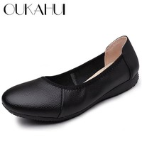 OUKAHUI Classic Shallow Genuine Leather Ballet Flats Shoes For Women Round Toe Simple Solid Soft Black Ladies Work Shoes Comfort