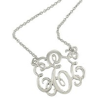 *Monogram Necklace ~E~ Silvertone