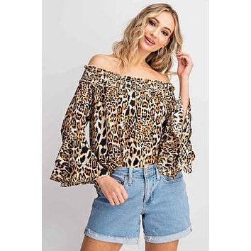 Off the Shoulder Animal  Print Woven Top - Taupe