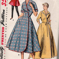 1950s Simplicity Sewing Pattern House Dress Lounge Coat Housecoat Wrap Tea Dress Fit Flared Skirt Bust 30