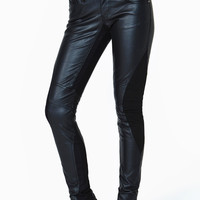 Black Slim Fit Knitted Detail Spliced Faux Leather Pants