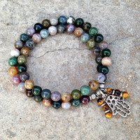 healing and protection, jasper, and tiger's eye 54 bead wrap bracelet with hamsa charm