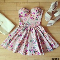 Andrea Floral Retro Bustier Dress with Adjustable Straps