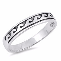 Sterling Silver Waves Ring 4MM