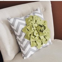 MOTHERS DAY SALE Sage Green Dahlia on Gray and White Zigzag Pillow -Chevron Pillow-