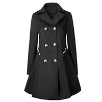 Caracilia Women Vintage Button Quilted Trench Coat Tag 3XL BLack CA20Bao