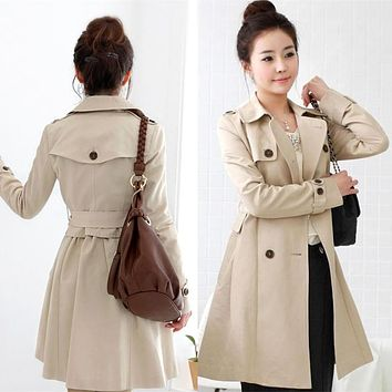 2017 Spring Autumn coat women fashion Casual double breasted women's casual outerwear slim long trench design coat belt