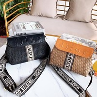 DIOR casual hot selling canvas jacquard patchwork shoulder bag fashion casual lady cross bag