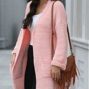 New style hot sale fashion long slim knit all-match cardigan