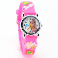 Free Shipping 3D Cartoon hello kitty  Barbie princess pink doll Watch Children Kids Girls Boys Students Quartz Wristwatches.