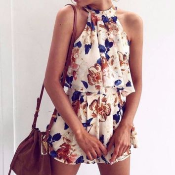 Halter ruffle women jumpsuit romper off shoulder linning floral elegant playsuit Summer beach sleeveless overalls